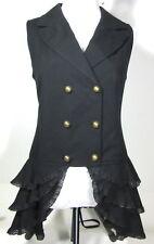 SPIN DOCTOR M or L Black Peplum VEST Sleeveless Waist Coat Steampunk Goth