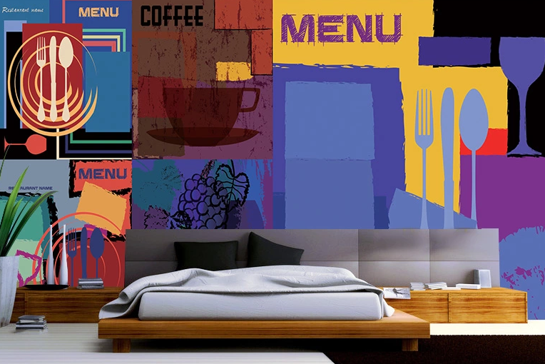 3D Tableware Patterns Wall Paper wall Print Decal Wall Deco Wall Indoor Murals