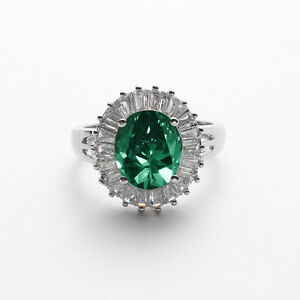 18K-Gold-Plated-Women-Bridal-Green-Crystal-Emerald-Rings-Wedding-Jewelry-New