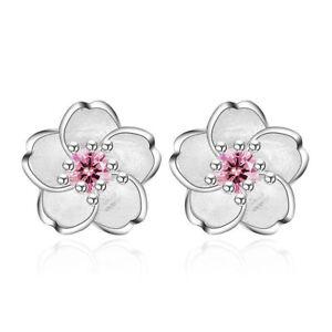 925-Silver-Crystal-Cherry-Blossoms-Flower-Ear-Stud-Earrings-Women-Girl-039-s-Jewelry