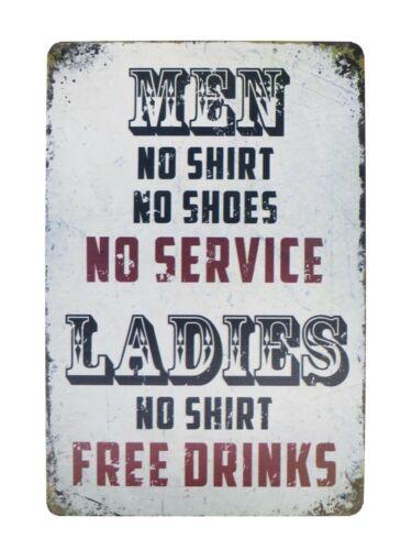 hombres camisa señoras sin bebidas gratis Tin Metal Sign placas Coleccionable Vendedor de Estados Unidos