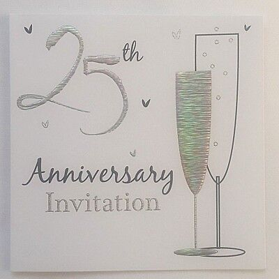 Pack Of 6 Silver 25th Wedding Anniversary Invitation Cards With Envelopes Ebay