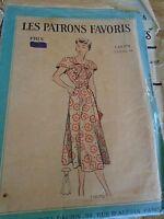 ANCIEN PATRON Favoris & Parisiens -Vintage French ROBE CAPELINE 1950