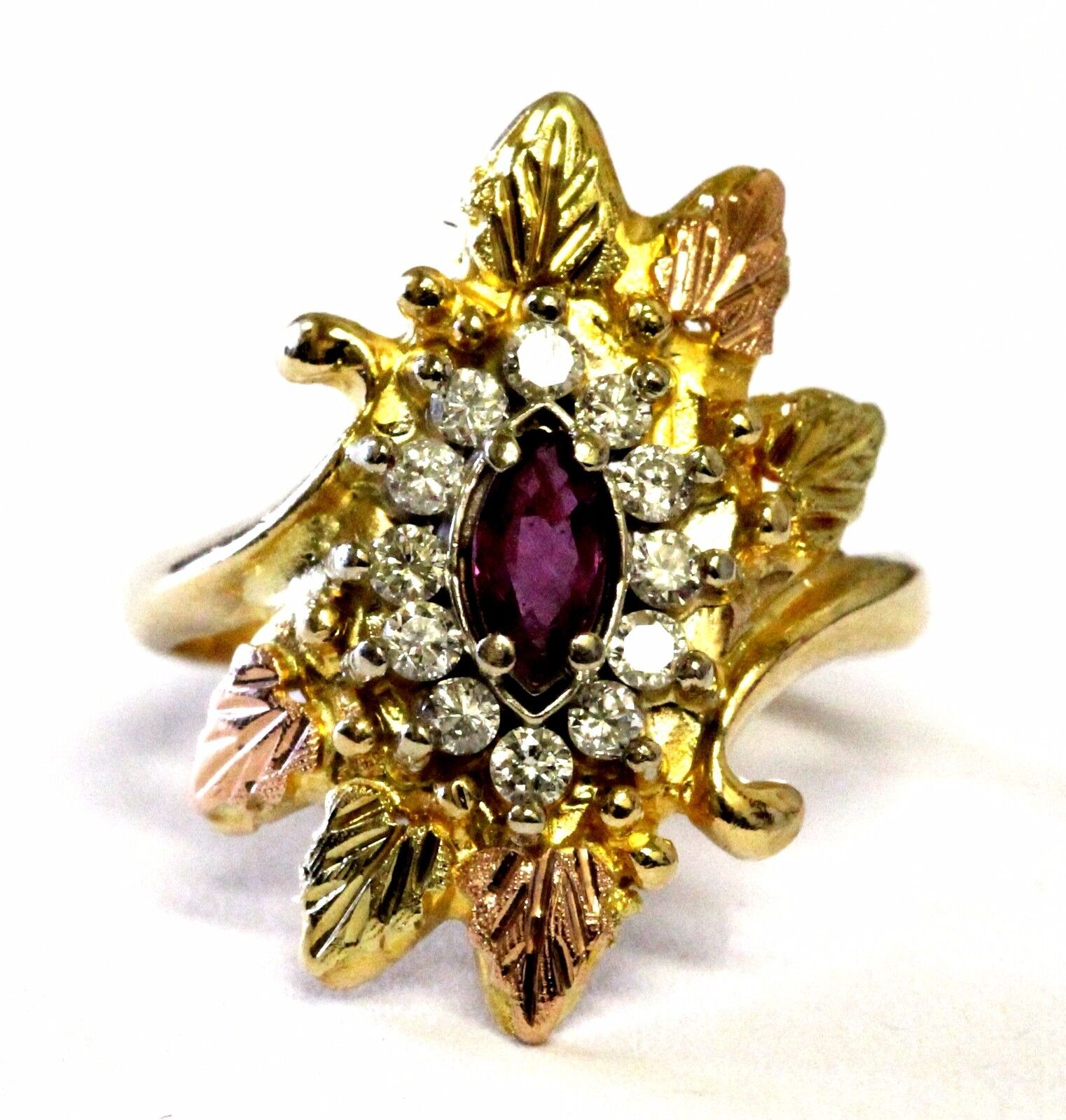 10k yellow pink gold .24ct SI2 I diamond ruby womens estate ring 4.8g leaf 6