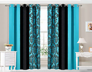Eyelet-Ring-top-Curtains-Damask-3-Tone-fully-lined-Teal
