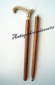 "Impartial Solid Brass Designer Handle Wooden Walking Stick Cane 36"" Vintage Nautical Gift"