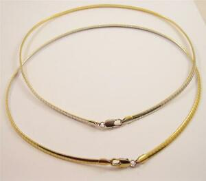 New-4mm-Reversible-Gold-amp-Silver-20-034-Omega-Chain-Necklace-w-Lobster-Clasp-CP9