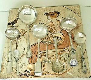 Silber-Besteck-Schaumloeffel-Zucker-Senf-Sahne-Kaviar-Erbsen-Streu-Sieb-Loeffel
