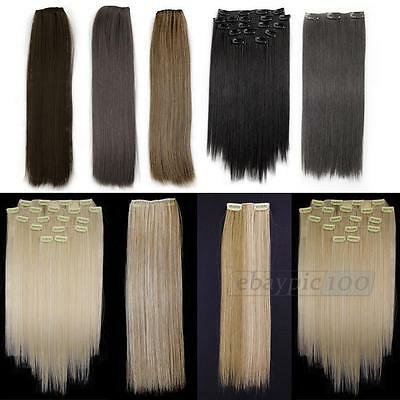 """8 Pcs 15"""" Straight Full Head Clip In On Synthetic Hair Weft Extensions"""