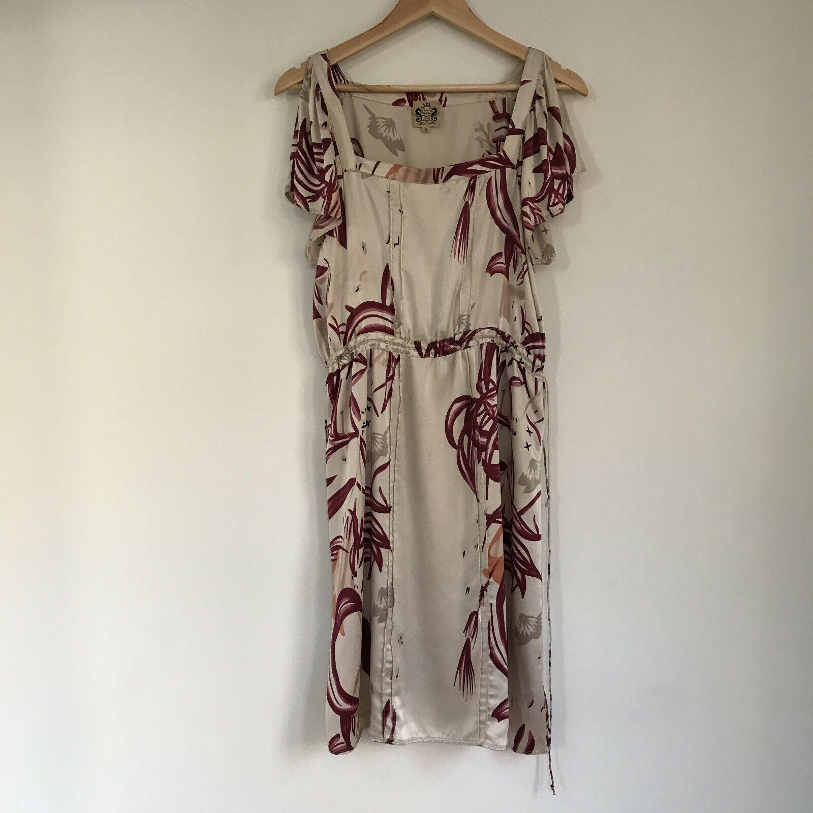Peu Joe Gail Elliott nouveau York femmes Printed Silk Robe w Belt, Taille Medium
