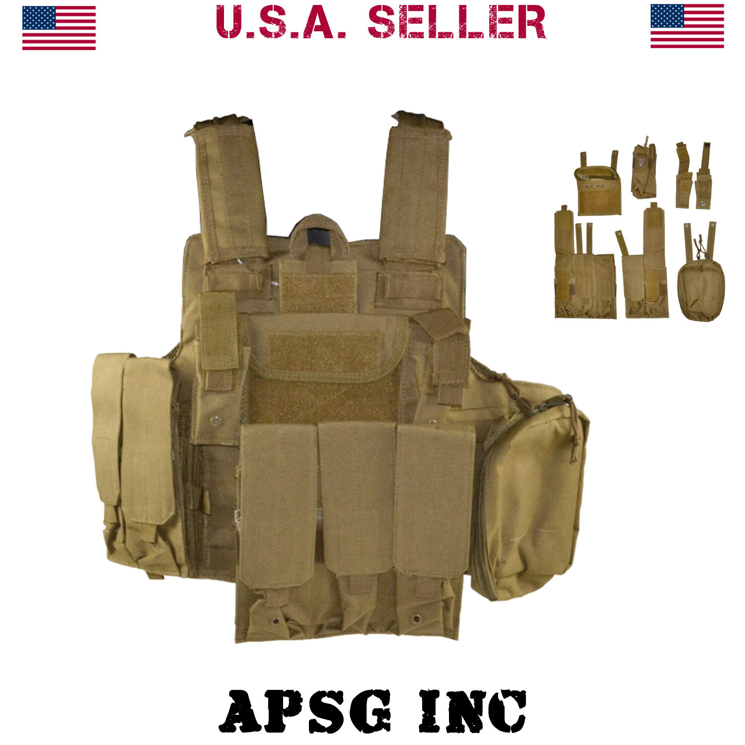 Sniper Military Tactical Molle Vest for Shooting Hunting X Draw w  7 Attachments