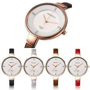 Damenuhr Uhr Leder Rose Gold Wasserdicht Armbanduhr Elegant Modern