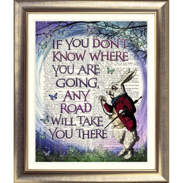 DICTIONARY PAGE ART PRINT VINTAGE ANTIQUE BOOK Alice in Wonderland White Rabbit