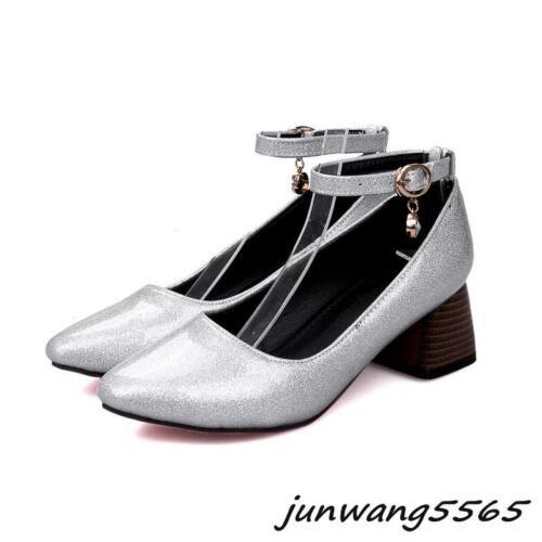 Damen Schuhe Lackleder Mary Janes Fesselriemen Blockabsatz Spitz Übergrößen