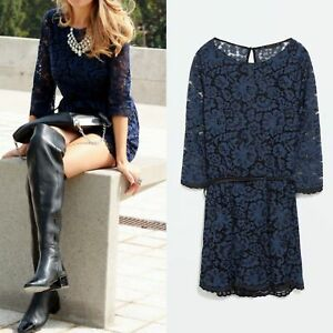 95b540afb5de Image is loading NEW-ZARA-NAVY-BLUE-LACE-JUMPSUIT-ROMPER-OVERALL-