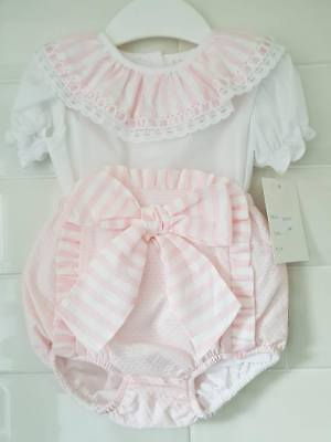 SPANISH BABY GIRLS PINK WHITE JAM PANTS BLOUSE WITH BOW BNWT 3-24 months