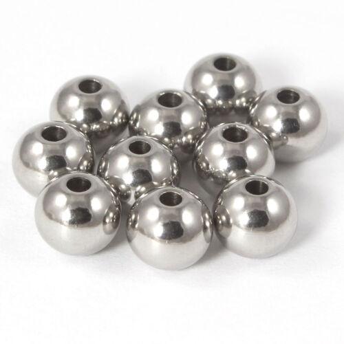 Kugeln Perlen aus Edelstahl mit Loch Ø 8-,6-,5-,4-,3 mm zum Basteln für Schmuck