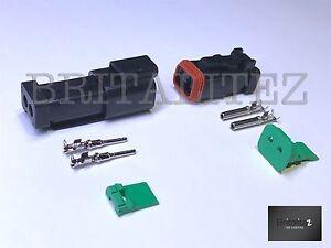 Deutsch-DT-Series-2-Way-Plug-Connector-Kit-DT06-2S-C-W-Pins-amp-Wedglock-DT04-2P