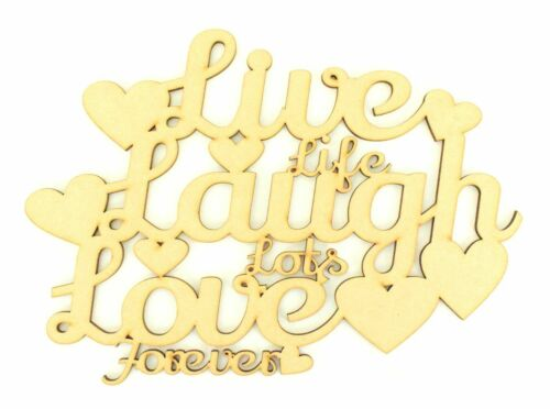Love/' Wooden MDF Wood Craft Quote Sign Gift A132 Laugh Laser Cut /'Live