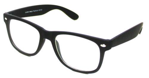 Matt Rubber Finish Black Geek Nerd Clear Lenses Glasses Vintage Retro Style