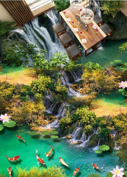 3D Viele Wasserfälle Fisch  Fototapeten Wandbild Fototapete BildTapete FamilieDE