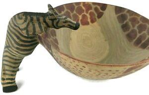Hand Carved African Wooden Zebra Handle Bowl Wooden Hand Painted Giraffe Design