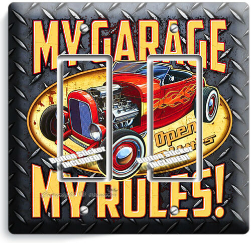 MY GARAGE RULES HOT ROD CAR 2 GFCI LIGHT SWITCH WALL PLATES ROOM MAN CAVE DECOR