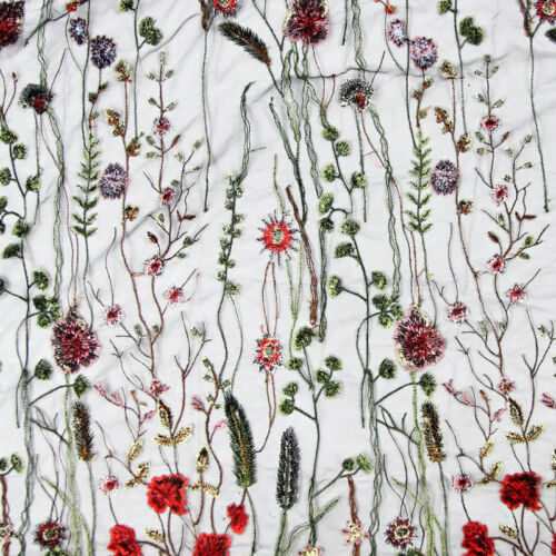 1*1.5m Black Flower Embroidery Mesh Wedding Bridal Veil Lace Fabric Dress Pretty