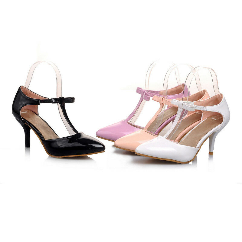 Synthetic Leather Ankle Strap shoes Med Heels Party Pumps Sandals UK Size S905