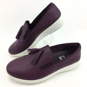 FITFLOP-Womens-Shoes-Superskate-Deep-Plum-Tassel-Leather-Loafers-Sz-6-5-C20398