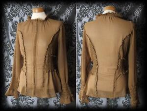 Gothic-Mustard-Sheer-MURDEROUS-High-Neck-Corset-Blouse-10-12-Victorian-Vintage