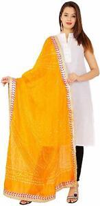 Women/'s Jaipuri Rajasthani Silk Bandhani Bandhej Multi-Colored Dupatta with Latk