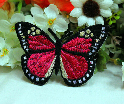 9PCS Embroidered Mixed Colorful Butterfly Patch Iron on Appliques Dress DIY HT06