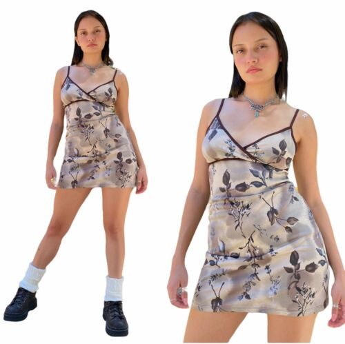 Vintage 90s Forever21 Chocolate Brown Spaghetti S… - image 1