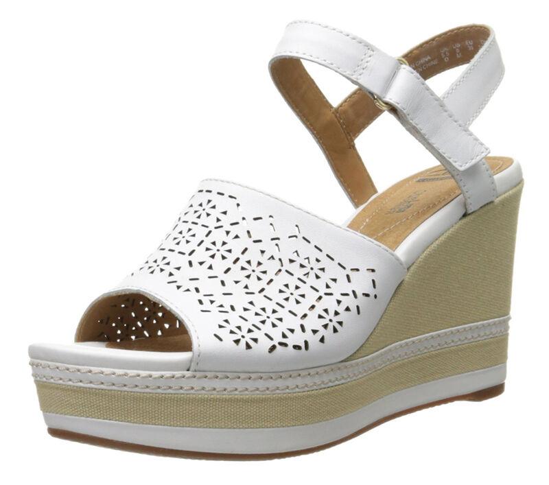 NEU Clarks Collection ZIA GRAZE Platform Wedge Damens Leder Sandales Größe 9.5