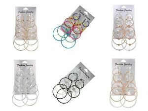 6-Pairs-Fashion-Silver-Rose-Gold-Round-Hoop-Earrings-Set-Pack-Jewellery-Gift-UK