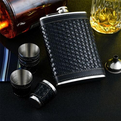 New Black Woven Leather Wrap Steel Hip Sets Gift Stainless Steel 4 cups Funnel