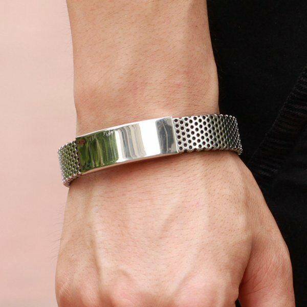 Men Silver Stainless Steel Black Leather Cuff Bangle Mens Wristband Bracelet AU