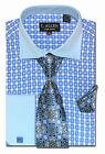 C. Allen Mens Dress shirts Necktie Combo French cuff Unique Checks Plaids Blue