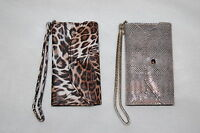 Trifold Cell Phone Wallet Case Iphone 5 And 5s Mock Snake Brown Leopard Wristlet