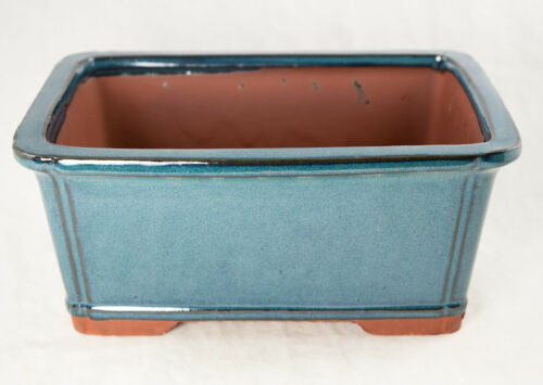 "Cactus /& Succulent Pot 9/""x 6.75/""x 3.75/"" Blue Stain Glazed Rectangular Bonsai"