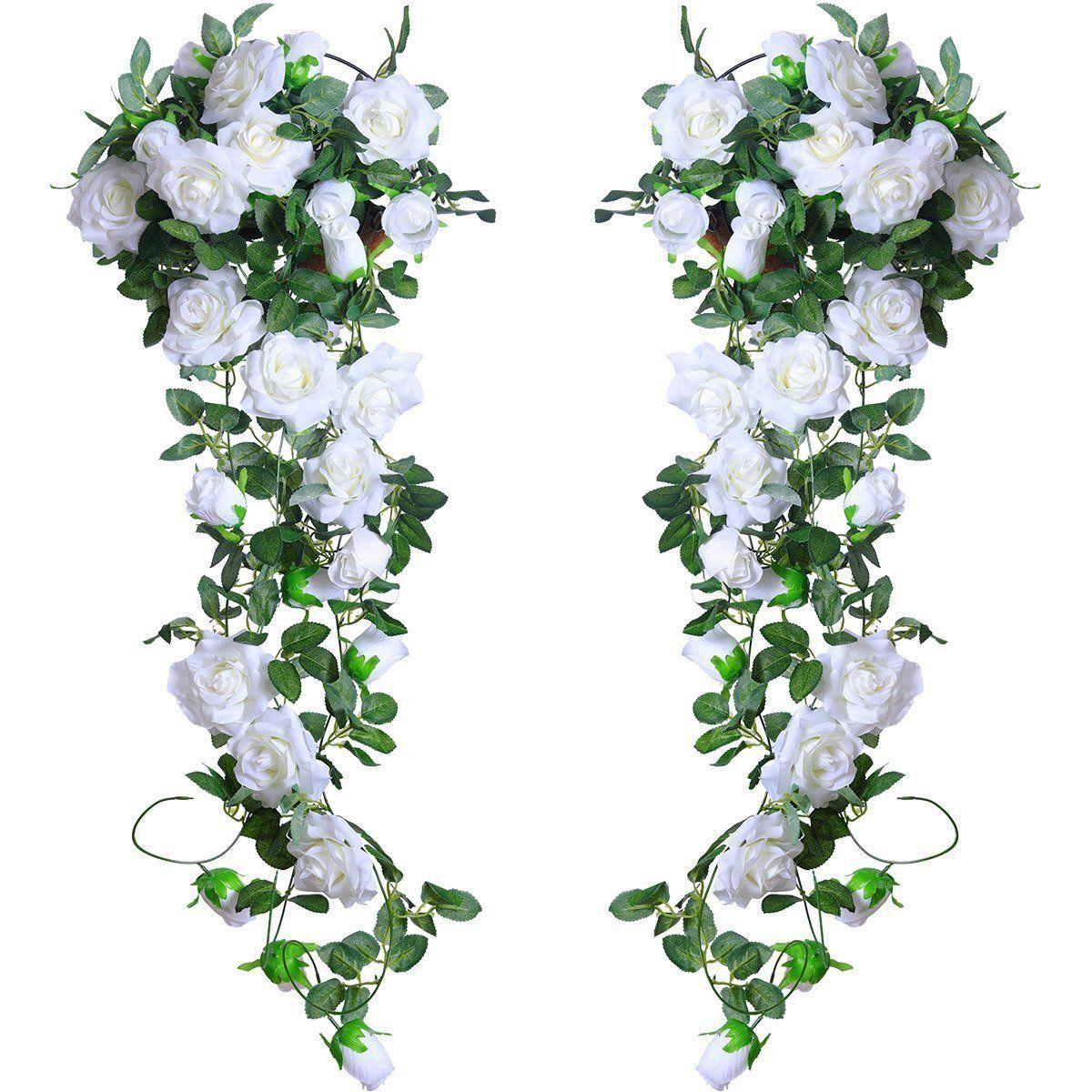 Hanging Artificial Rose Garland Silk Flower Ivy Vine Garland Wedding Home DecoNA 3