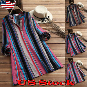 Summer-Womens-Striped-Blouse-Shirts-Tunic-Baggy-Tops-Long-Sleeve-V-Neck-Tee-Top