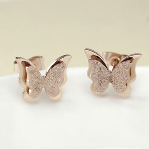 Double-Frosted-Butterfly-Rose-Gold-GP-Surgical-Stainless-Steel-Stud-Earrings