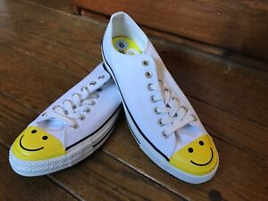 Details about Converse Smiley Face Low White Mens 9 / Womens 11 Shoe Chuck Taylor All Star New