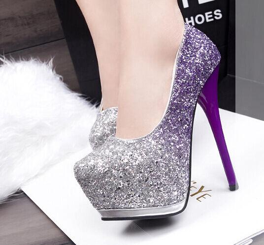 Escarpin chaussures pour femmes Avec Plateau gris violet talon 14,5 cm 5 8582