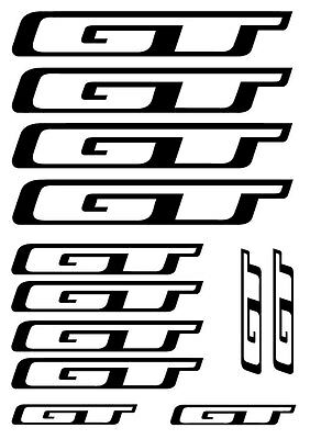 SET OF 12 BICYCLE FRAME REPLACEMENT VINYL STICKERS 12 x GT Frame Bike Decals