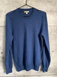 Burberry-Brit-Sweater-Blue-Nova-Check-Shoulder-Fine-Merino-Wool-Size-Medium