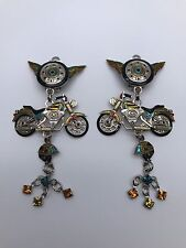 Extremely Rare Lunch at the Ritz Clip Earrings ~Easy Rider Motorcycles Theme~