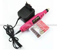Electric Nail Art Drill Pen 6 BITS File Manicure Machine Pedicure Tool 110V 220V